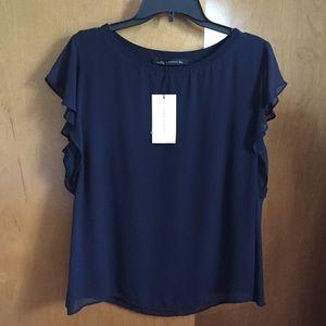 Zara Woman navy blue blouse